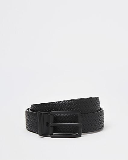 Black weave embossed buckle belt