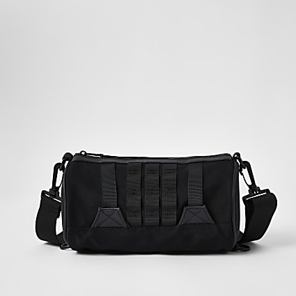 Black Webbing Barrel Bag