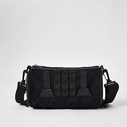 Black Webbing Barrel Bag
