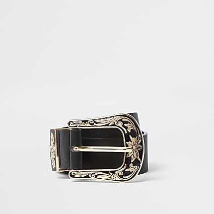 Black Western buckle belt