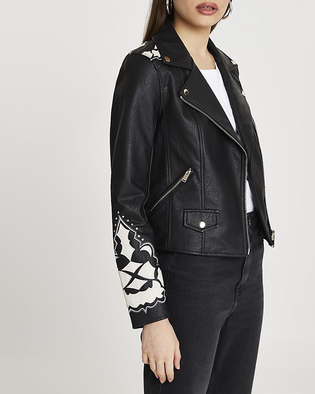 Black western cutwork studded biker jacket