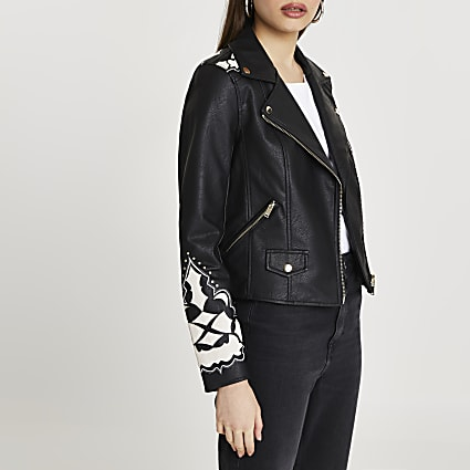 Black western cutwork studded biker jacket