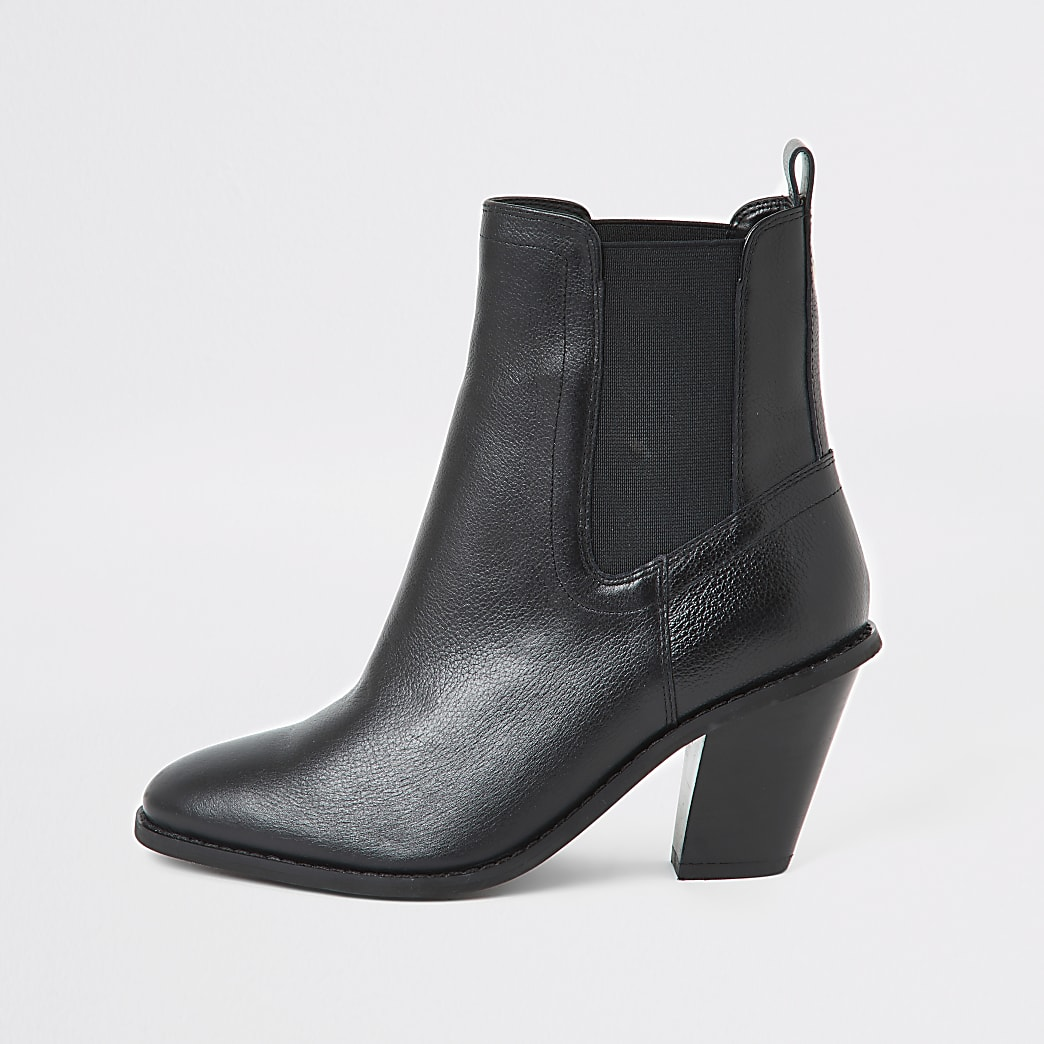 Black western high heel boots