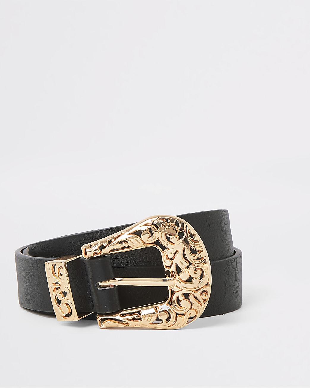 Black western inspired buckle belt