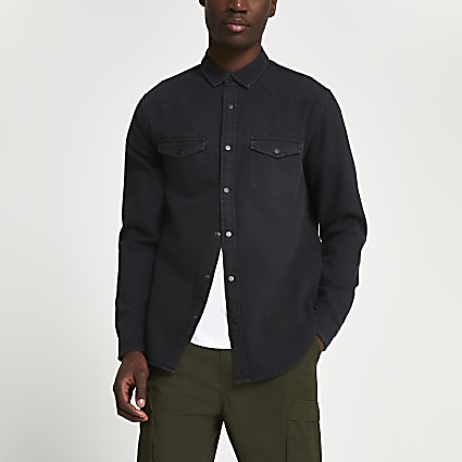 Black western long sleeve shirt
