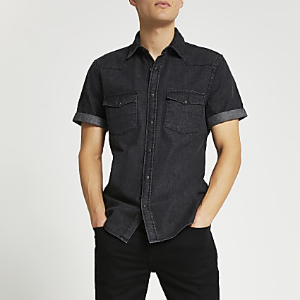 Black western short sleeve denim shirt