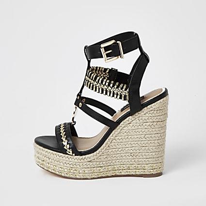 Black whipstitch strap wide fit wedge sandals