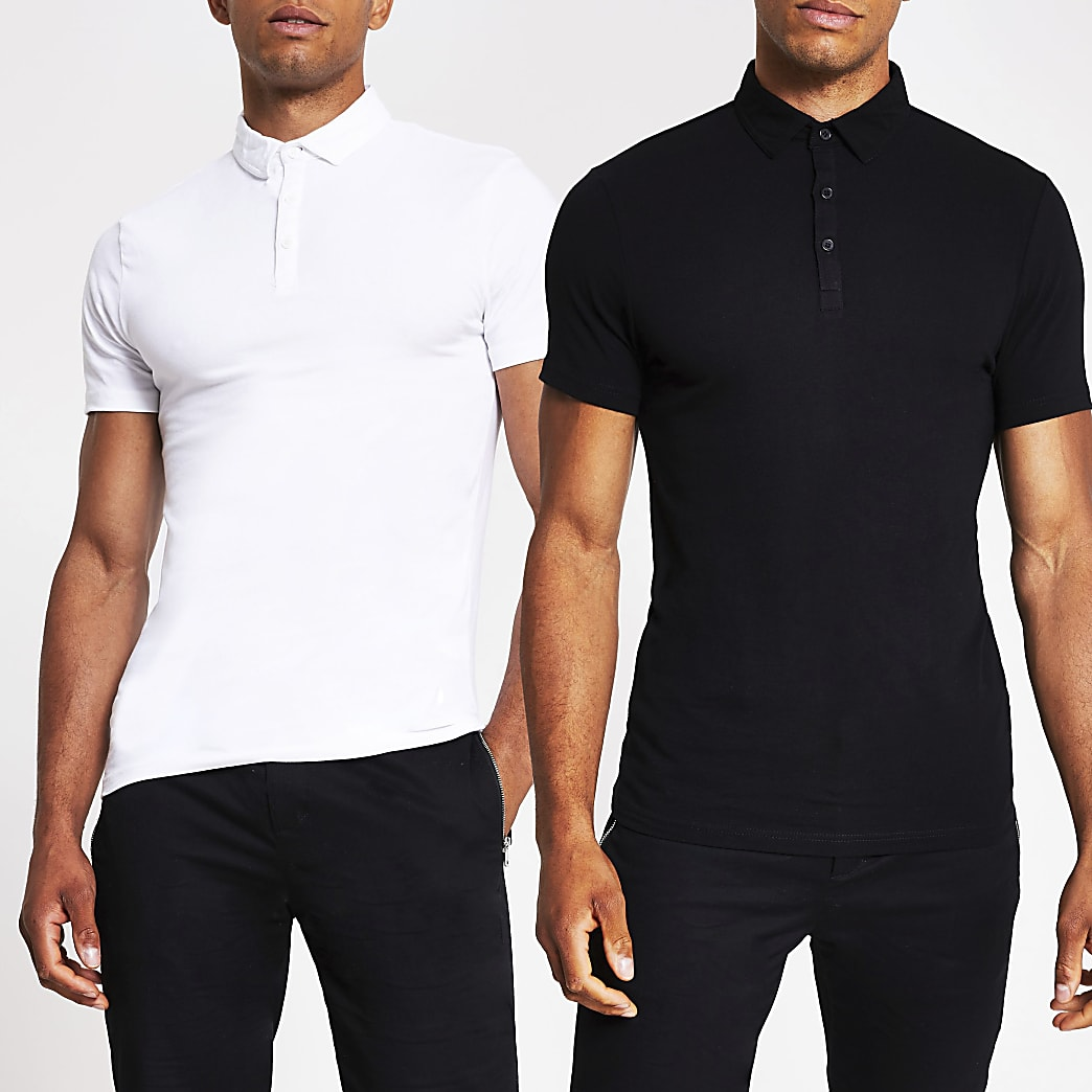 Black white muscle fit polo shirt 2 pack