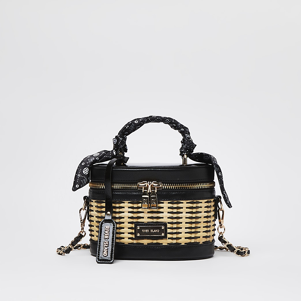 Black wicker vanity bag