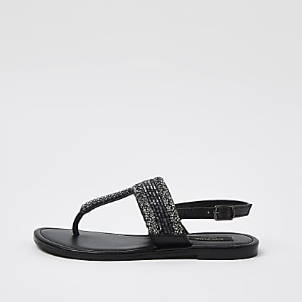 Black wide fit beaded toe thong sandals
