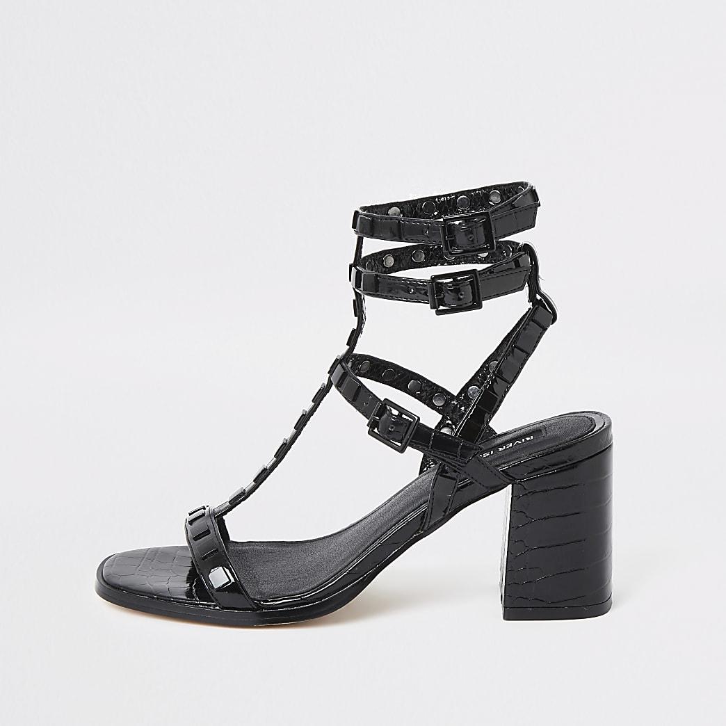 Black wide fit block heel gladiator sandal