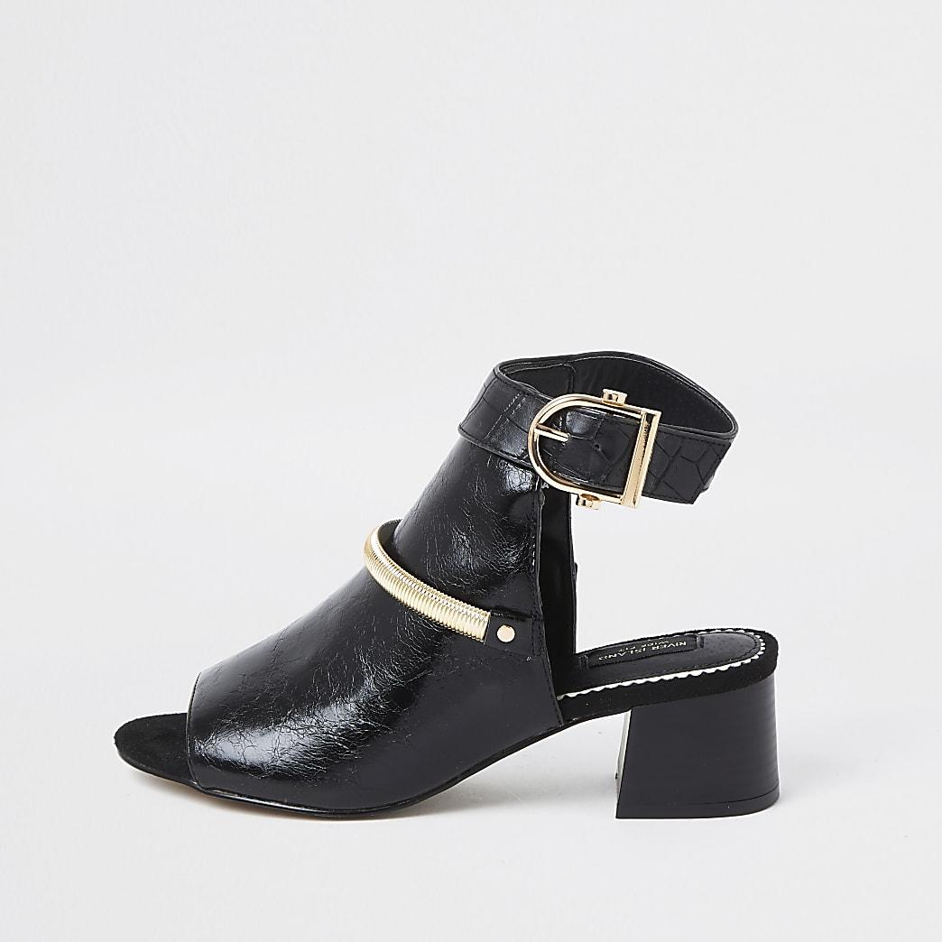 Black wide fit block heel shoe boot
