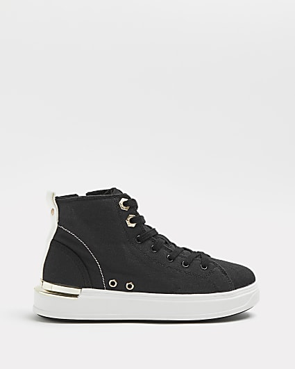Black wide fit canvas high top trainers