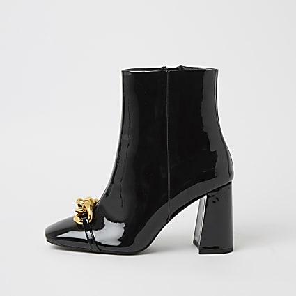 Black wide fit chain block heel boots