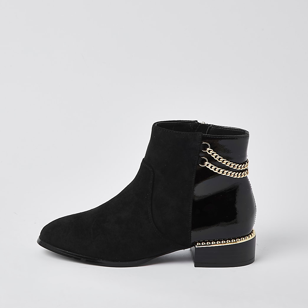 Black wide fit chain detail boots
