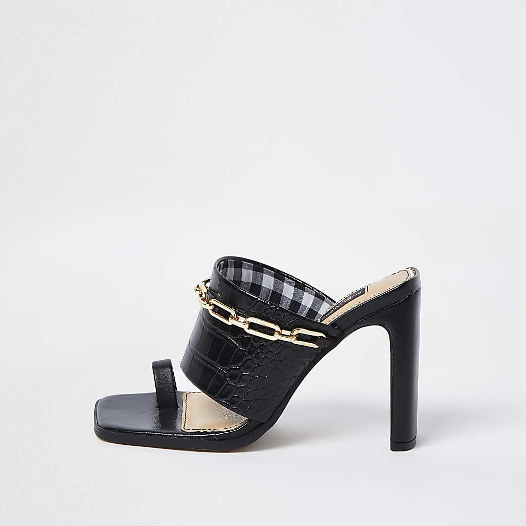 Black wide fit chain detail heeled mules