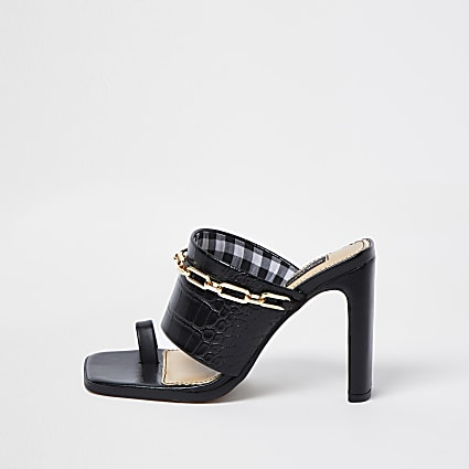 Black wide fit chain detail mules