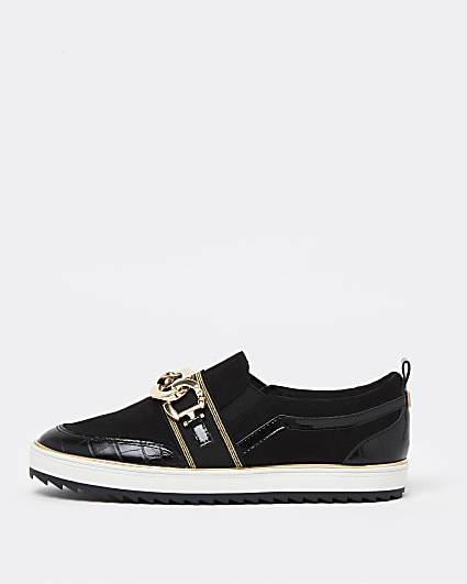 Black wide fit chain detail slip on trainers