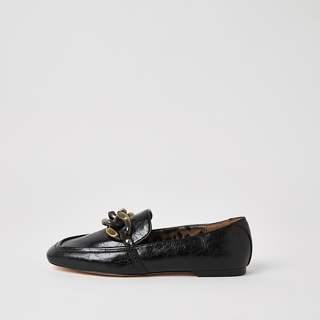 Black wide fit chain detail textured loafers