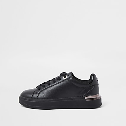 Black wide fit chunky flat lace up trainers