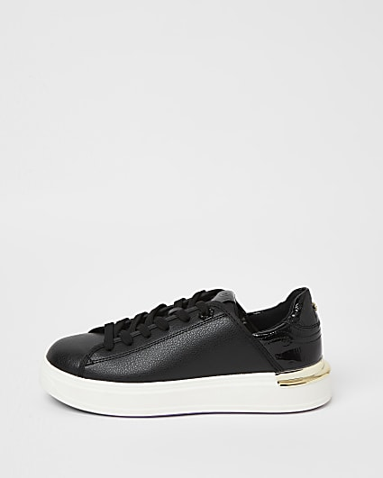 Black wide fit chunky lace up trainers
