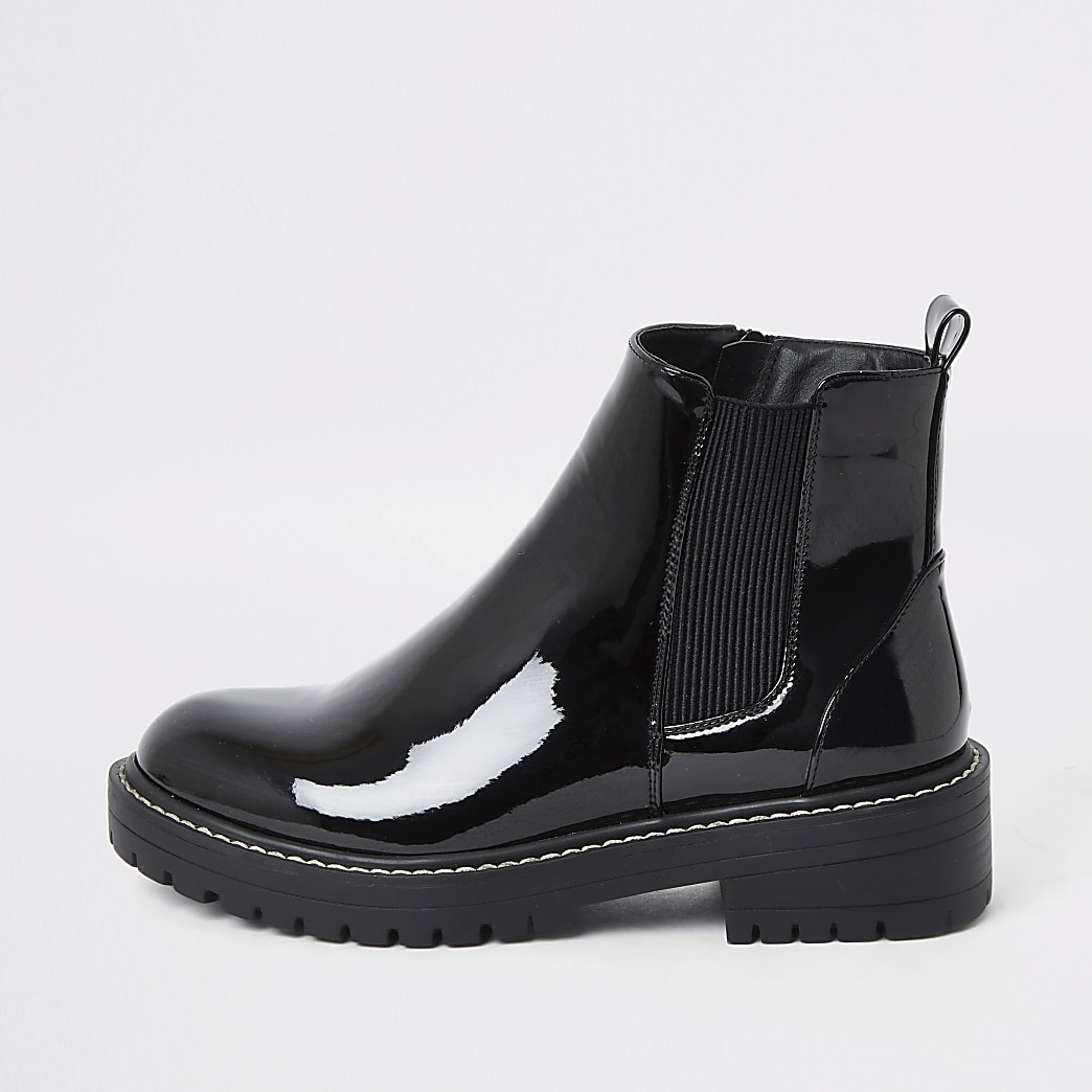 Black wide fit chunky patent boots
