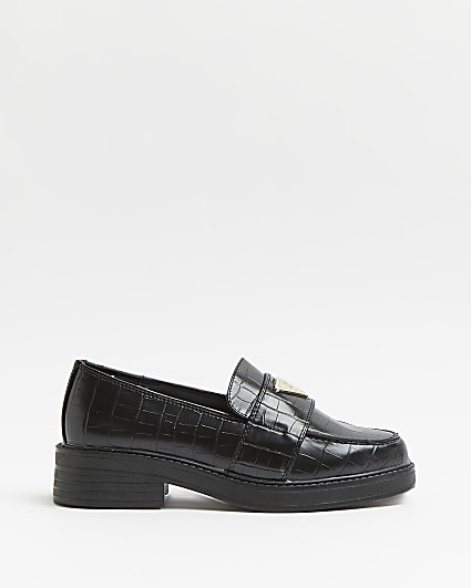 Black wide fit croc embossed loafers