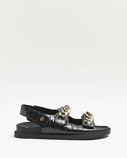 Black wide fit croc embossed sandals