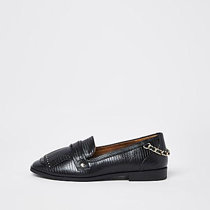 Black wide fit croc fringe detail loafers