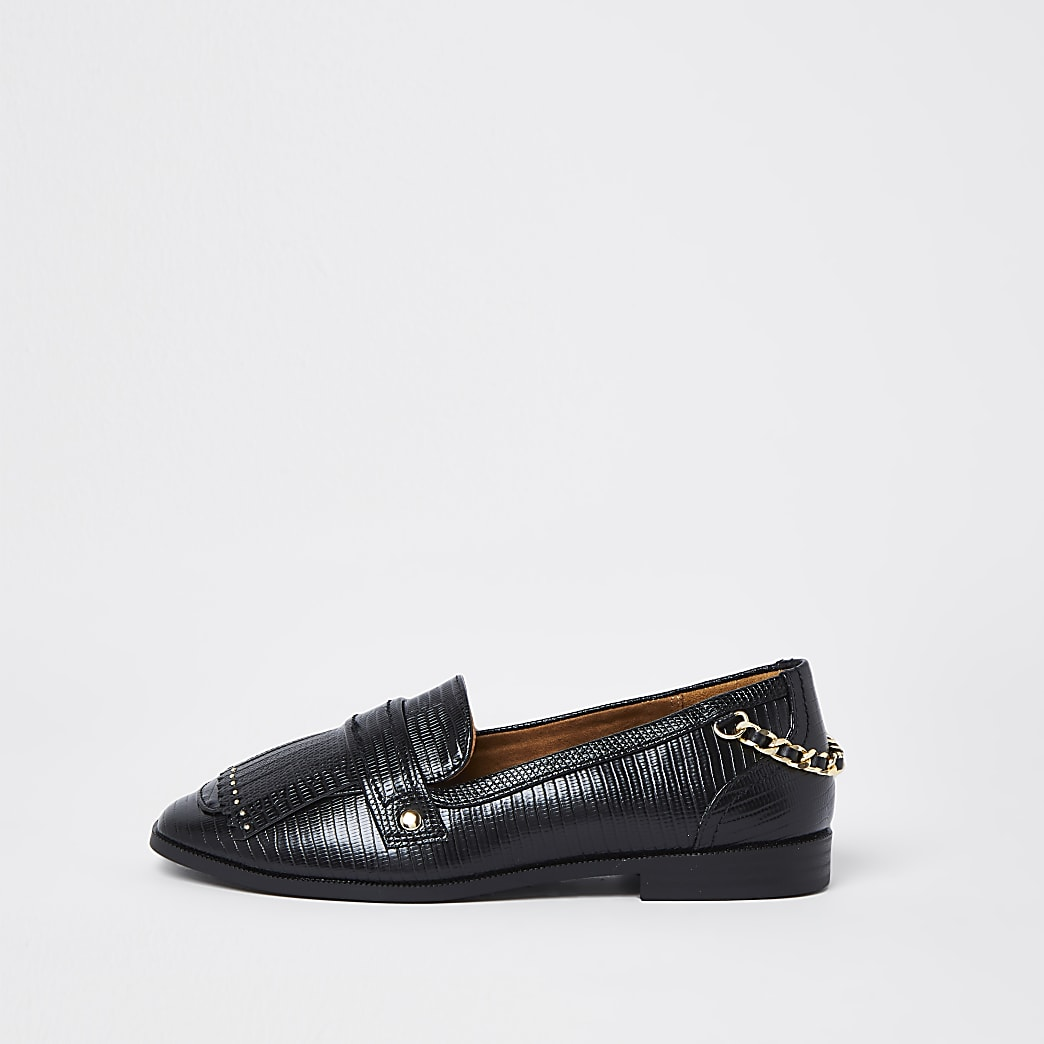 Black wide fit croc fringe detail loafers