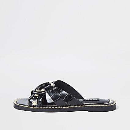 Black wide fit cross strap sandals