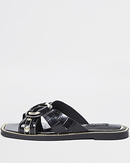Black wide fit cross strap sandals