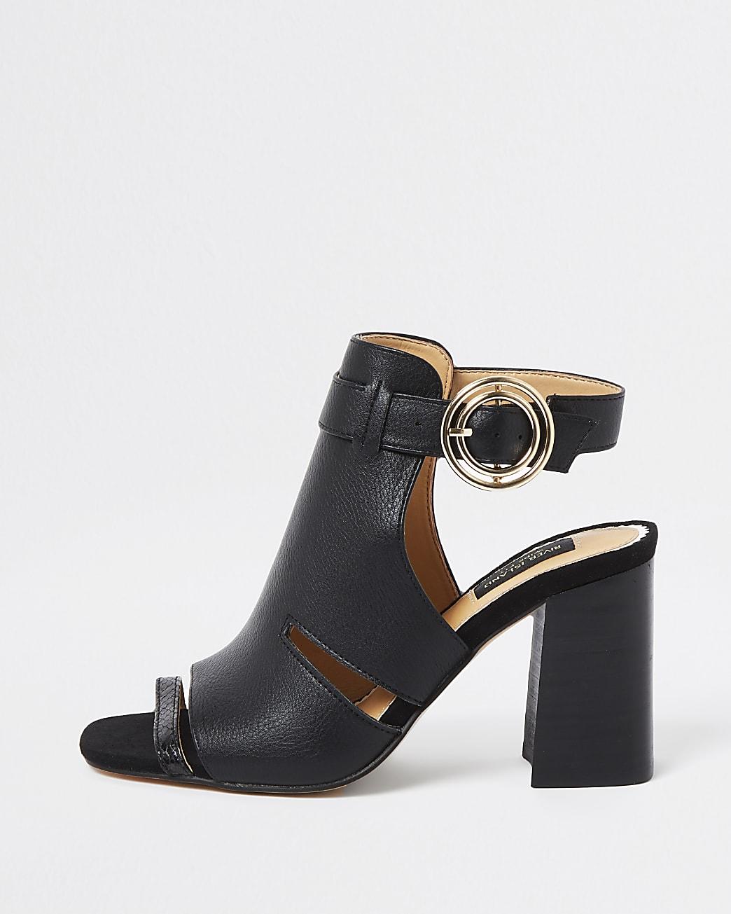 Black wide fit cut out block heel shoe boots