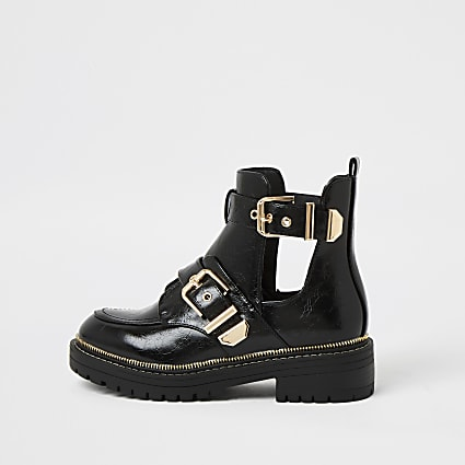 Black wide fit cut out chunky buckle boots