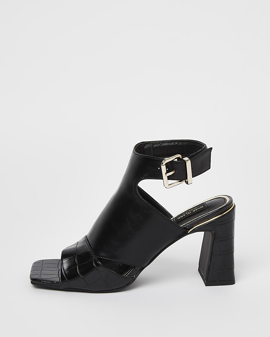 Black wide fit cut out toe heeled shoe boots