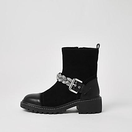 Black wide fit embellished biker boots