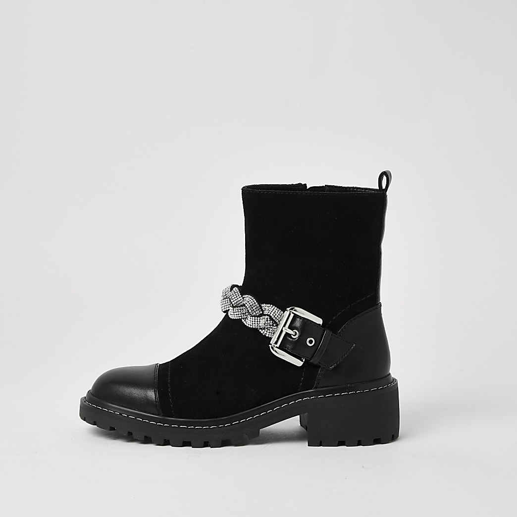 Black wide fit embellished biker boots