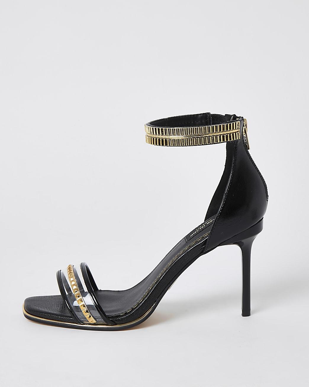 Black wide fit embellished heeled sandals