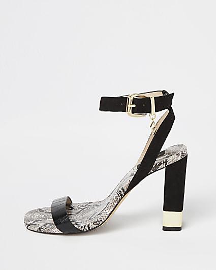 Black wide fit embossed block heels