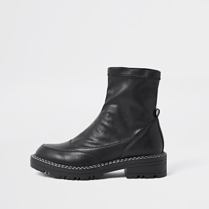 Black wide fit faux leather boots