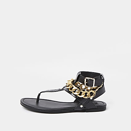 Black wide fit gold chain gladiator sandals