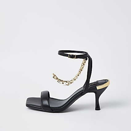 Black wide fit gold chain heel