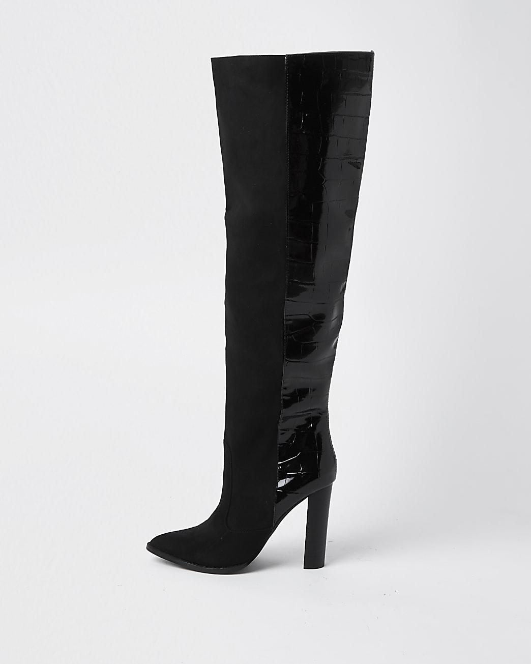 Black wide fit high block heel boots
