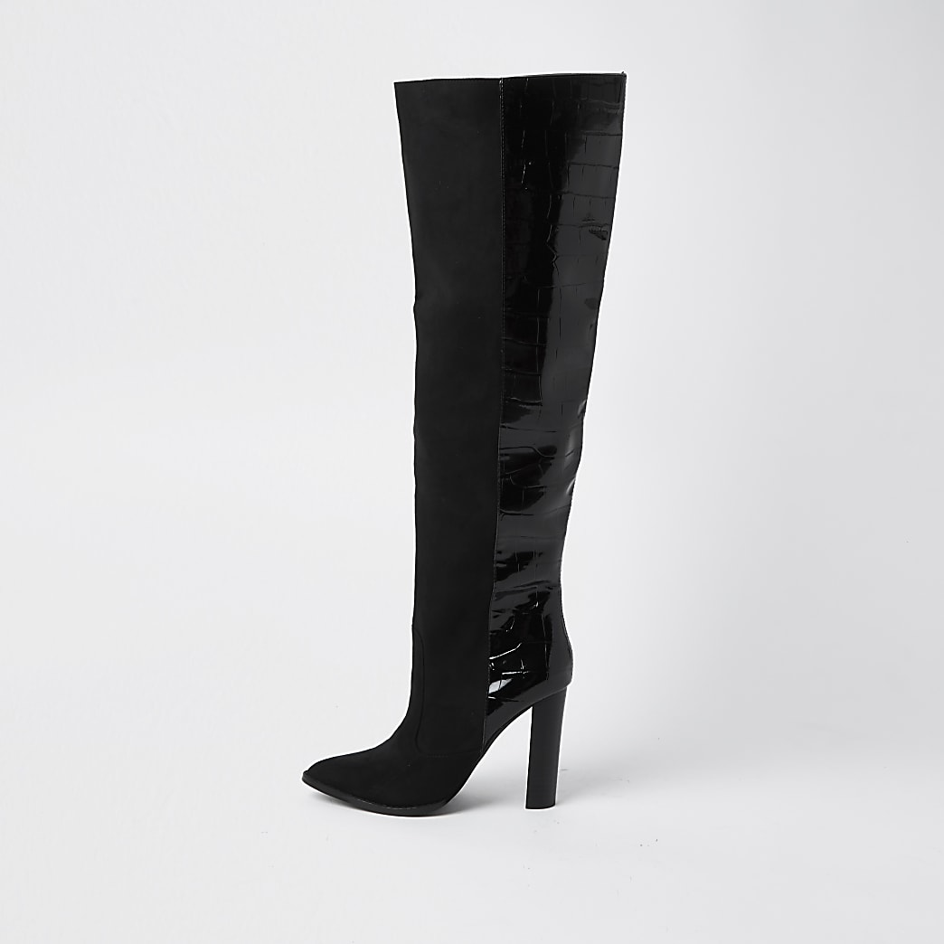 Black wide fit high block heel boots