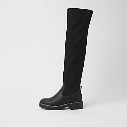 Black wide fit knitted high leg boots