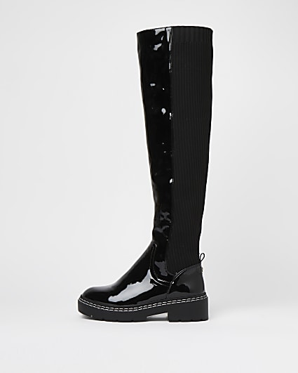 Black wide fit knitted over the knee boots