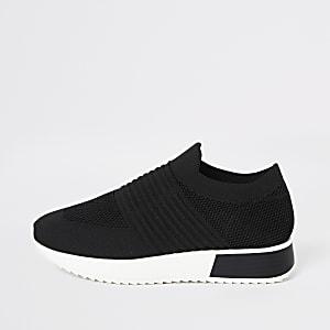 Zwarte wide fit gebreide sneakers