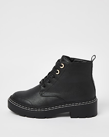 Black wide fit lace up ankle boots