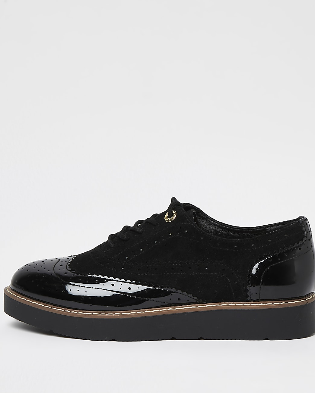 Black wide fit lace up brogues