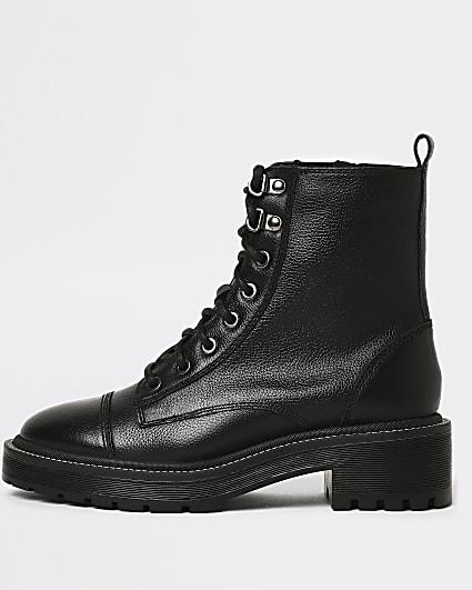 Black wide fit leather biker boots